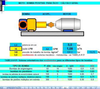 12. Cálculo Bomba Positiva para óleo