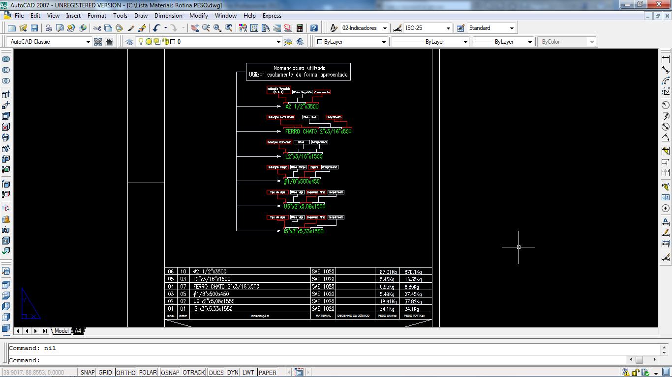 AutoCAD Detalhamento: Cálculo Automático de Peso em Listas de Materiais