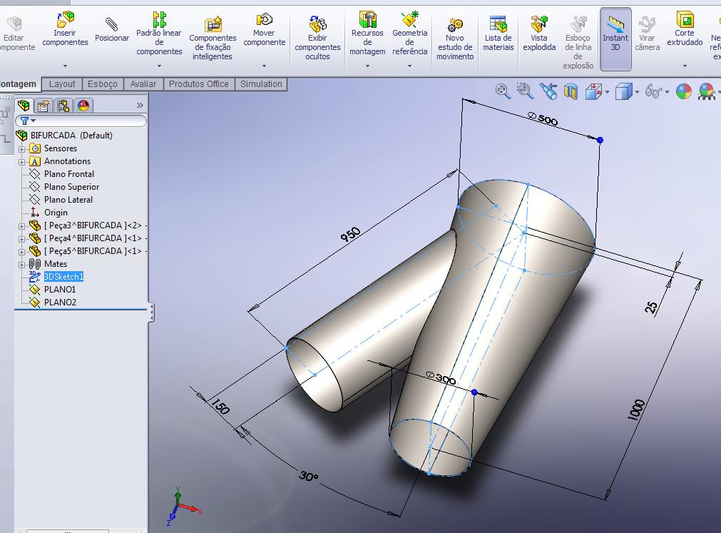 Projetos FP: Bifurcada Inteligente em SolidWorks