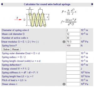 Cálculos Online: Mola de Compressão Mola Helicoidal Perfil cilíndrico