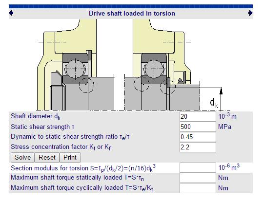 Cálculos Online: Cálculos para Eixo Torque Máximo em Eixos Ranhurados