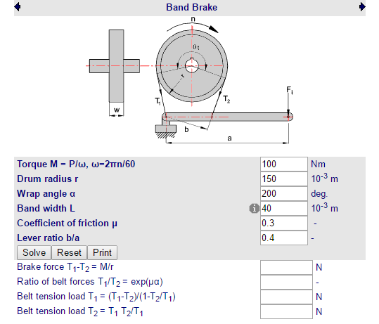 Cálculos Online: Cálculos para Cinta de Freio Simples Força de Acionamento