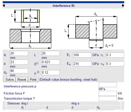 Cálculos Online: Cálculo de Tolerância Montagem por Interferência