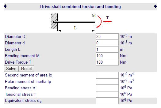 Cálculos Online: Cálculos de Eixo Torção+Flexão