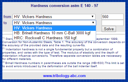 Cálculos Online: Conversão de Valores de Dureza Brinell x Vickers x Rockwell