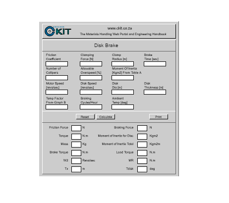 Cálculos Online: Transportador Correia Cálculos Gerais Disco de Freio