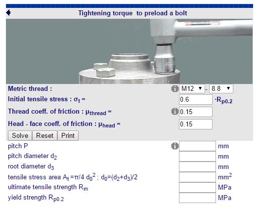 Cálculos Online: Cálculos para Parafusos Torque de Aperto