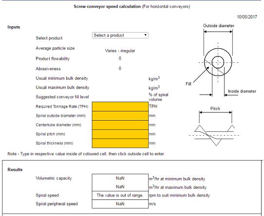Cálculos Online: Transportador Helicoidal Capacidade e Velocidade