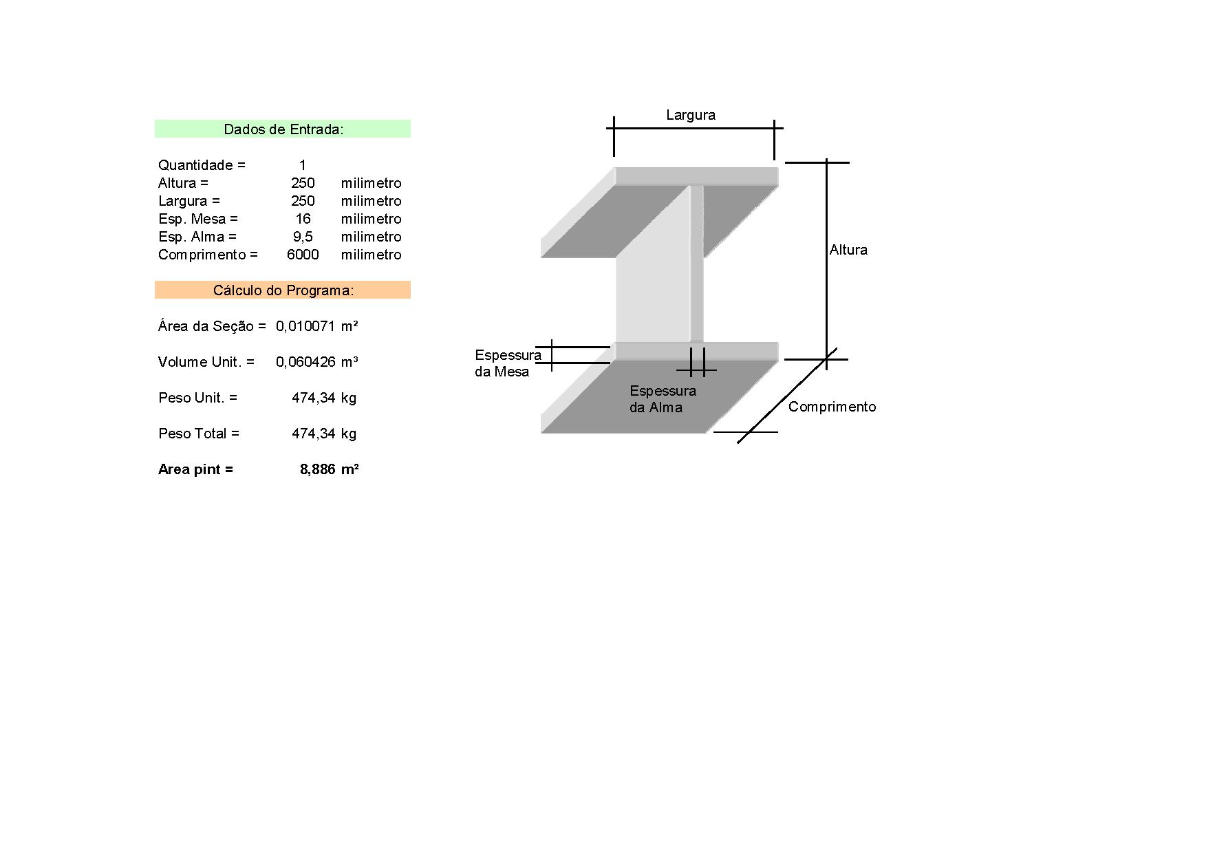 Planilhas de Calculo N2: Calculo de Peso e Volume de Perfis e Vigas