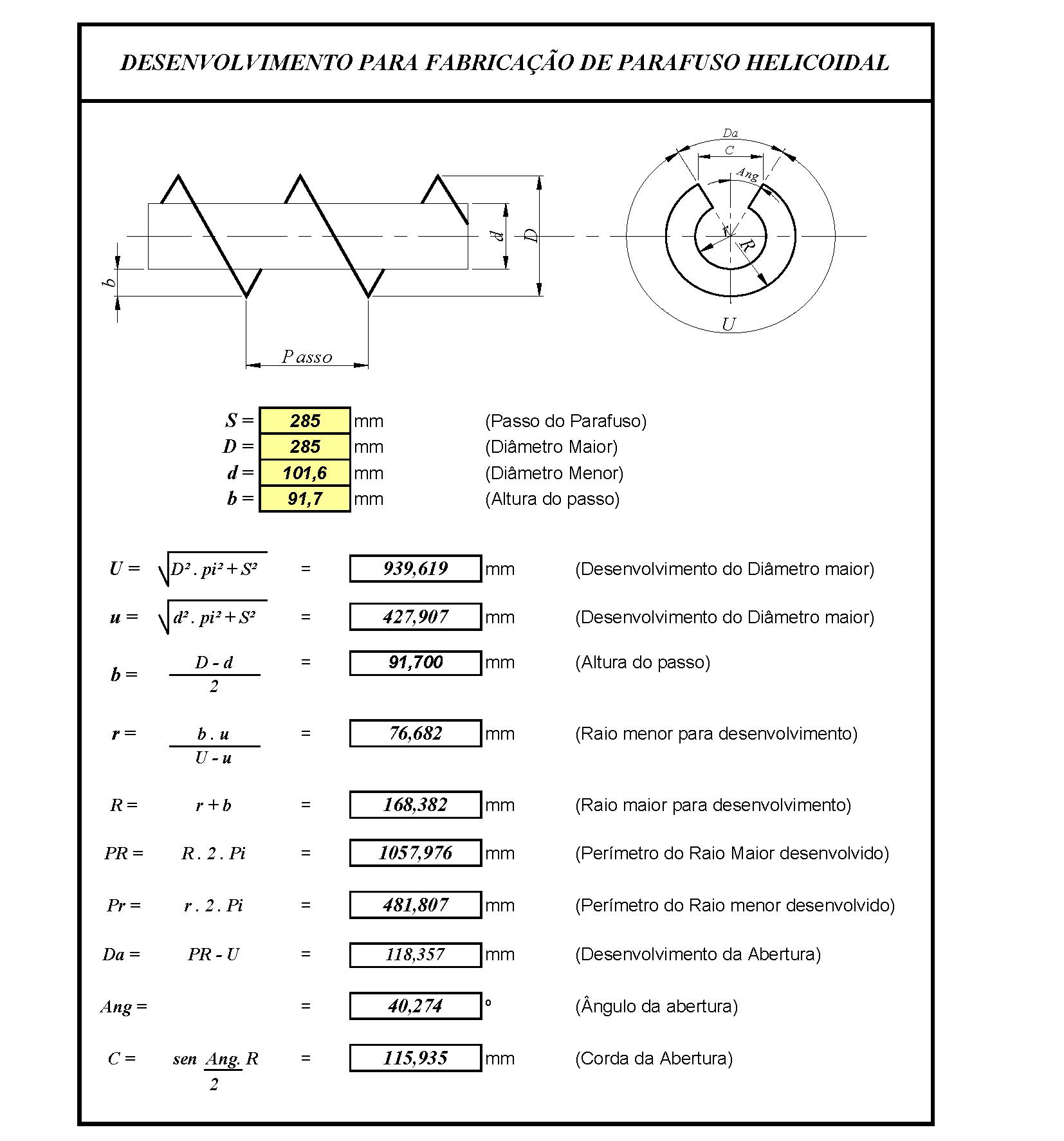 Planilhas de Calculo N2: Planificação Chapa Rosca Helicoidal