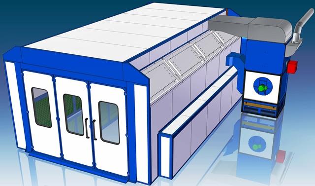 Projetos FP: Cabine de Pintura Automotiva Side Draft Pintura/Secagem