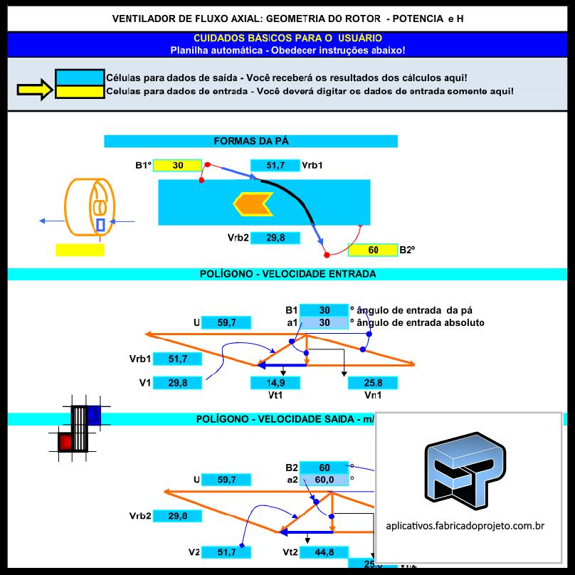Aplicativos FP N3: Planilha para Cálculo de Geometria Rotor Ventilador Axial – Potência e H