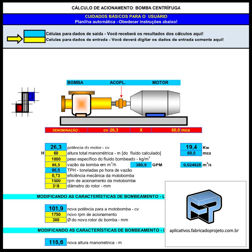 Aplicativos FP N3: Planilha para Cálculo Bomba Centrífuga