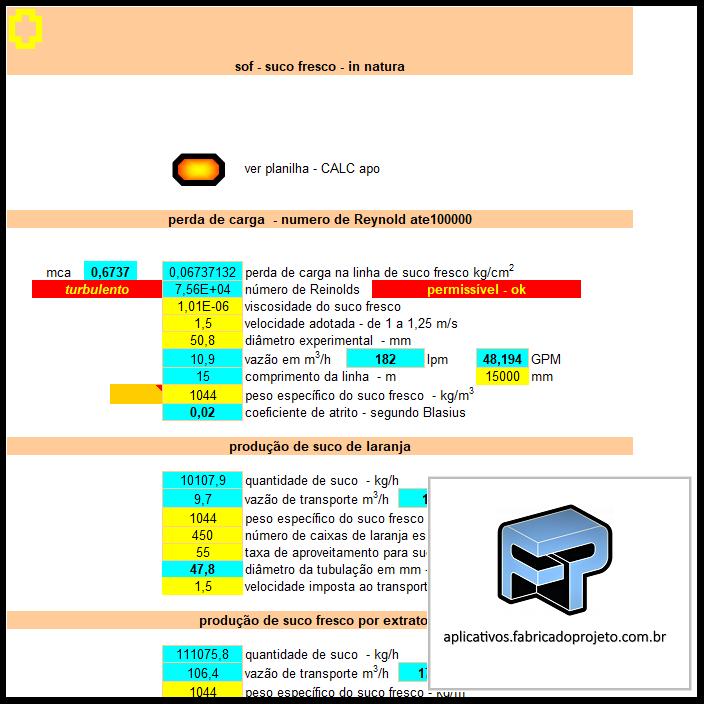 Aplicativos FP N3: Planilha para calculo de tubulação e recalque suco fresco in natura