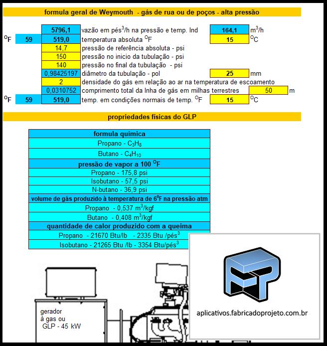 Aplicativos FP N3: Planilha para Calculo de rede de Gás GLP