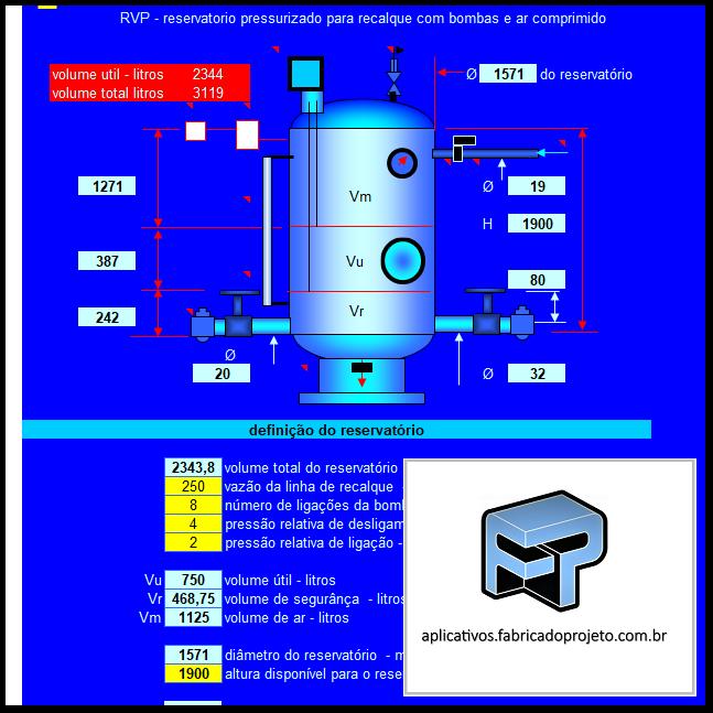 Aplicativos FP N3: Planilha para dimensionamento de reservatório pressurizado