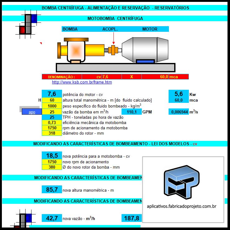 Aplicativos FP N3: Planilha para calculo de bomba centrífuga para alimentação de reservatórios