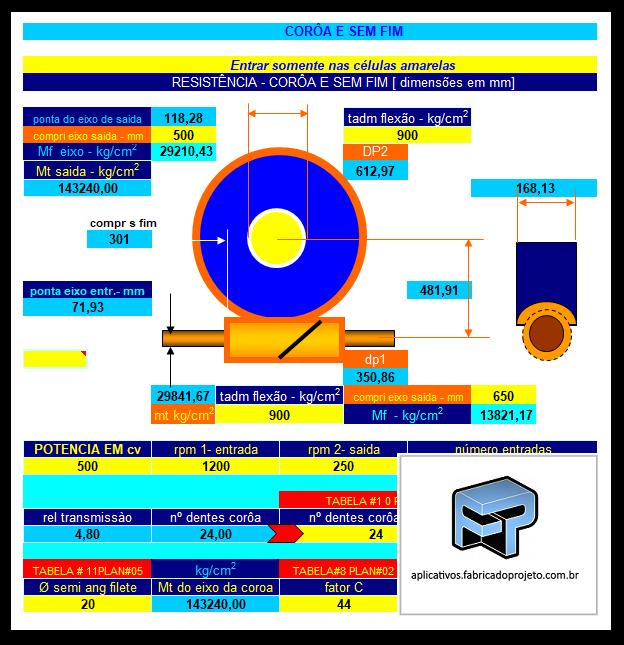 Aplicativos FP N3: Planilha para calculo de transmissão coroa sem-fim