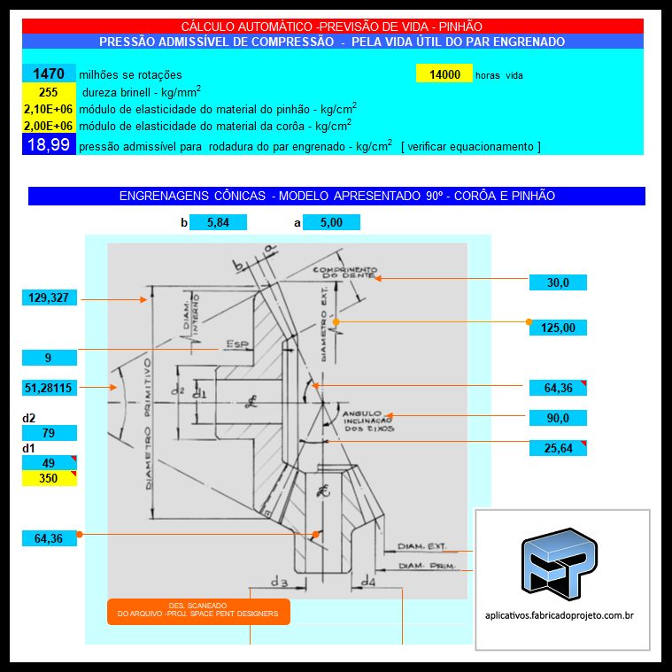 Aplicativos FP N3: Planilha para calculo de engrenagens cônicas