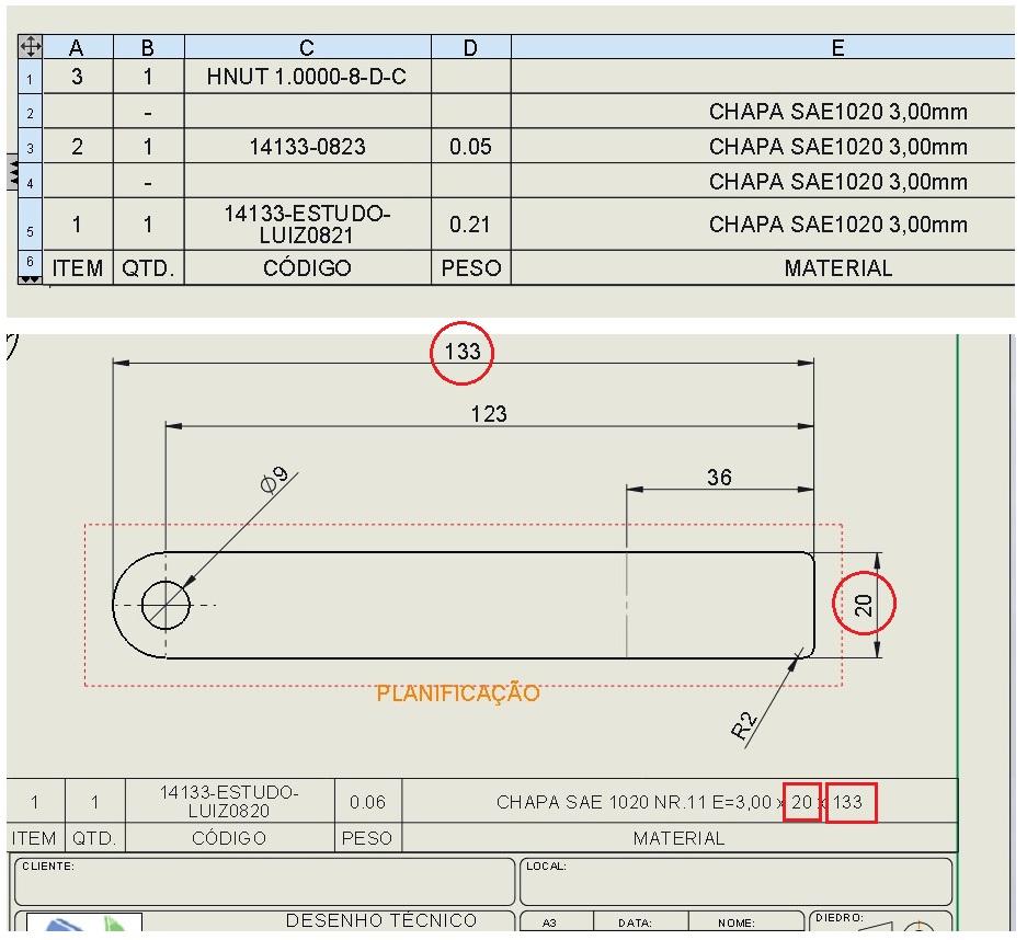 Projeto Solicitado – Lista de material com medidas da caixa delimitadora para solidworks  |Finaliza Dia 28 fev 20|