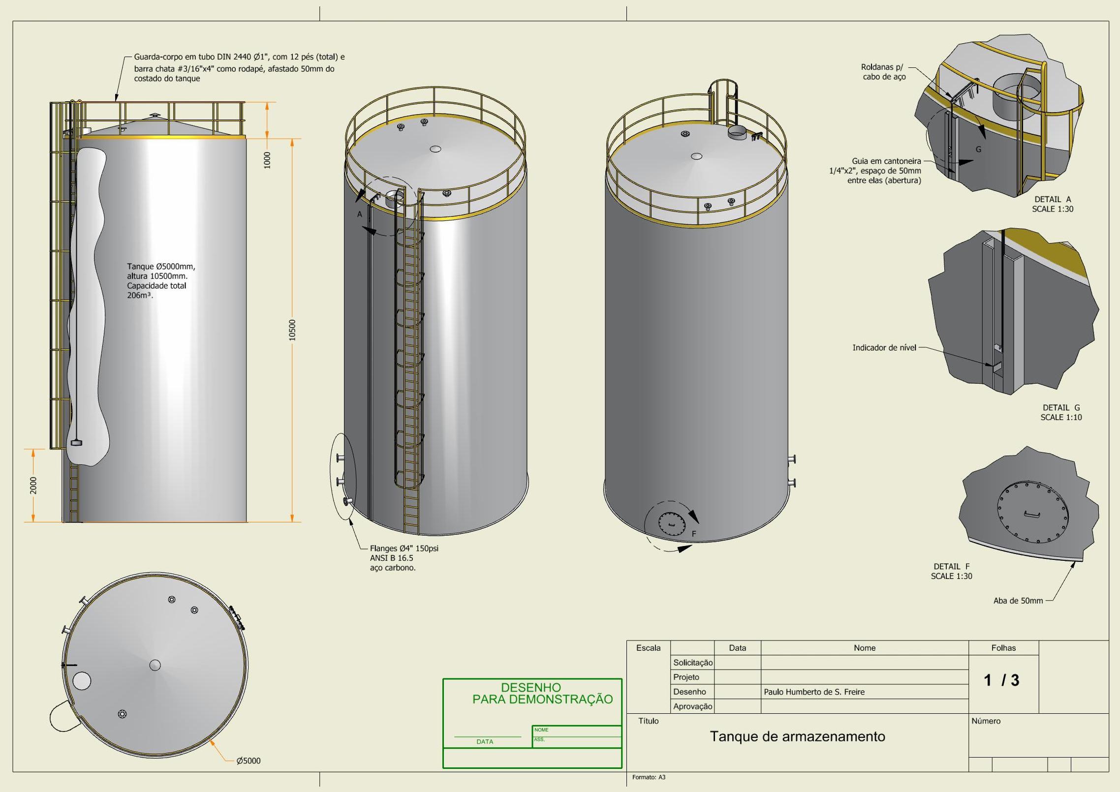 Projetos FP: Tanque cilíndrico em aço carbono com guarda-corpo e escada, capacidade 200m³