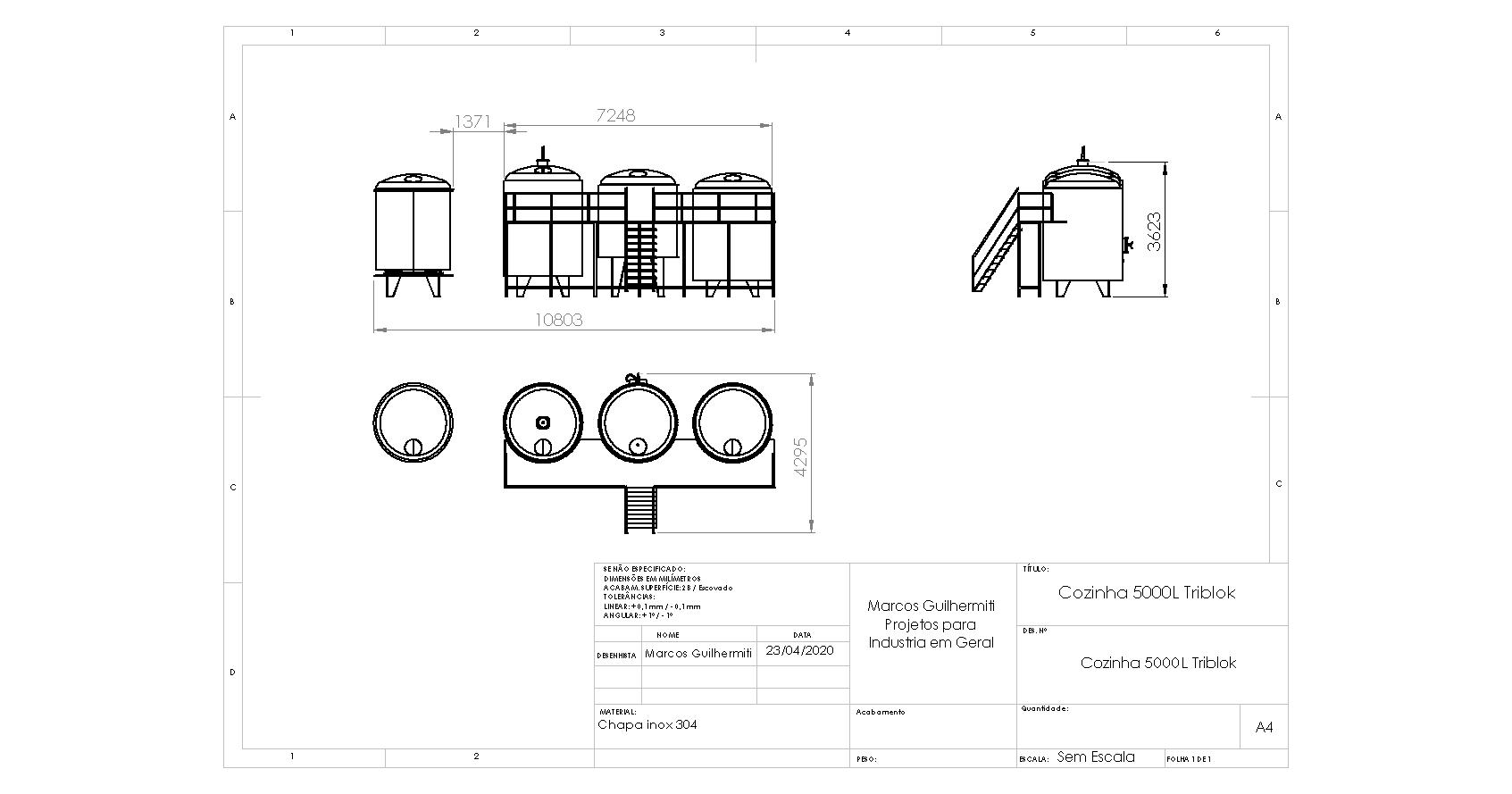 Projetos FP: Cozinha cervejeira capacidades até 5000L