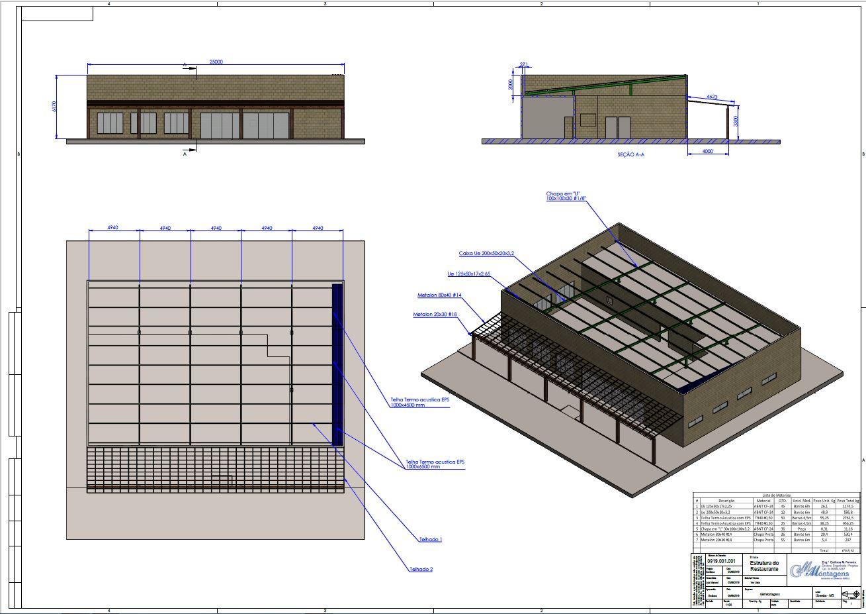 Projetos FP: Estrutura metálica do restaurante.