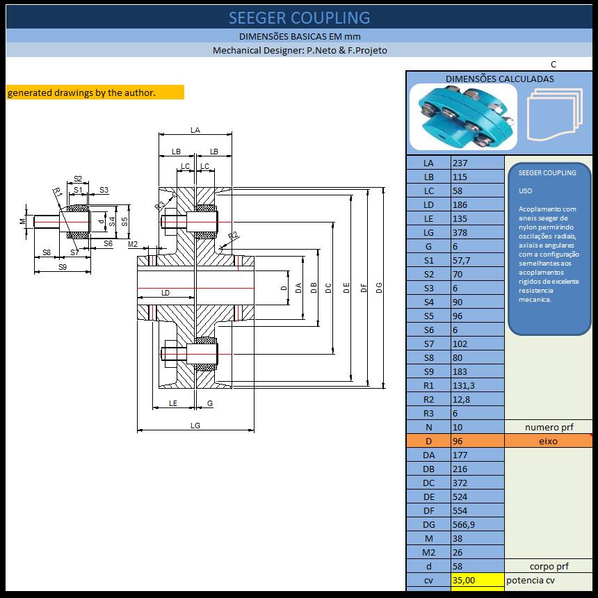 Aplicativos FP N3: Planilha para Calculo de Acoplamento com Pino Elástico (Seeger)