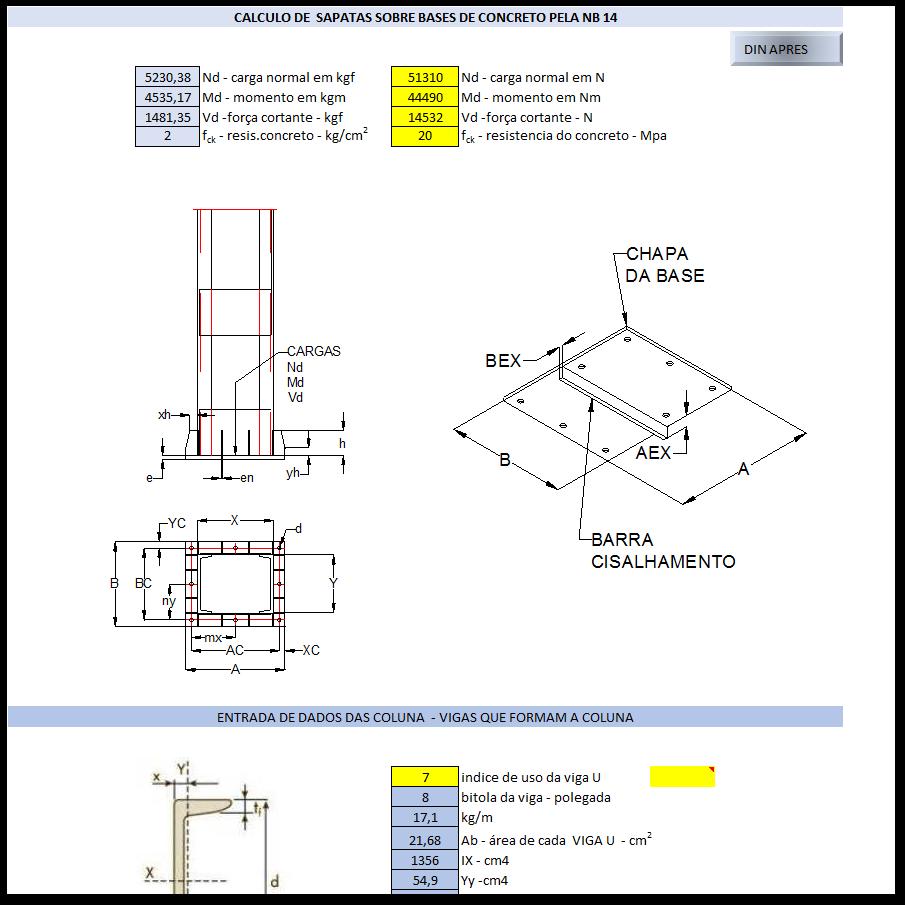 Aplicativos FP N3: Calculo de sapatas sobre bases de concreto norma NB14