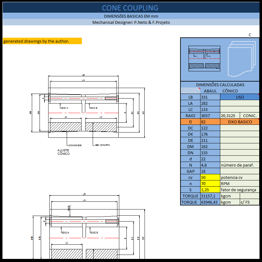 Aplicativos FP N3: Calculo de Acoplamento Rígido com Bucha Cônica