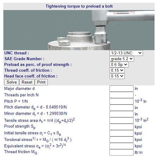 Cálculos Online: Cálculos para Parafusos UNC Torque de Aperto