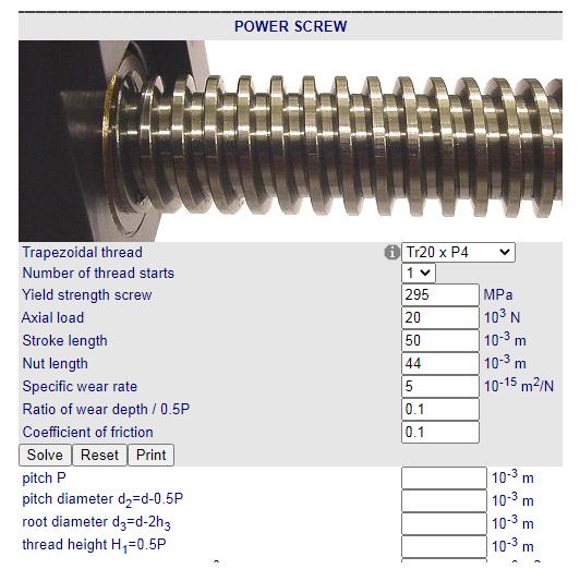 Cálculos Online: Cálculos para Rosca Trapezoidal – Potência de transmissão