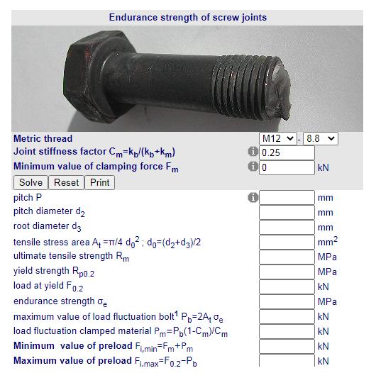 Cálculos Online: Resistência de uniões por parafusos métricos