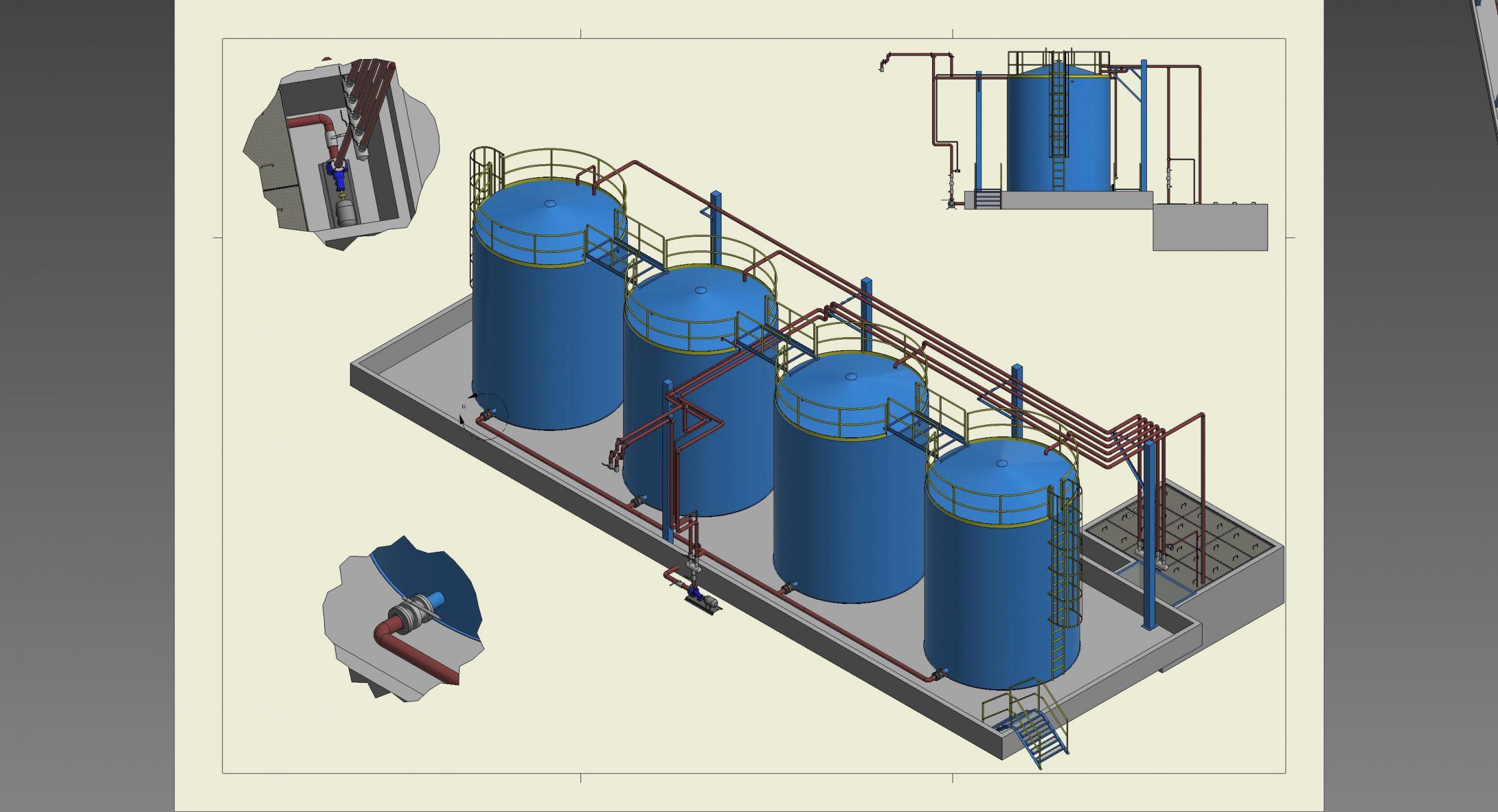 Projetos FP: Tanques de armazenamento com bombas e tubulações